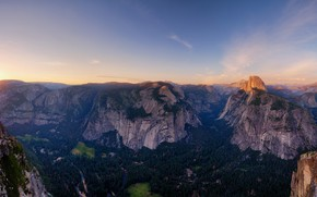 Picture the sky, mountains, tops, height, panorama, USA, Yosemite, forest, mountain range, Yosemite national Park