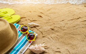 Picture sand, sea, beach, summer, the sun, stay, towel, hat, glasses, shell, summer, beach, sea, sand, ...