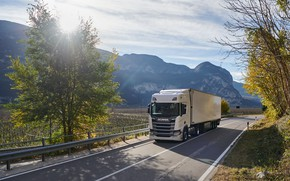 Picture road, the sun, trees, mountains, white, cabin, the trailer, tractor, Scania, the truck, Scania R410