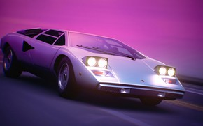 Picture Auto, Music, Lamborghini, Machine, Style, Background, 80s, Style, Rendering, Illustration, Lamborghini Countach, 80's, Synth, Retrowave, …