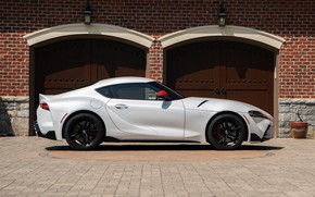 Picture white, coupe, Toyota, side view, Supra, the fifth generation, mk5, double, 2020, 2019, GR Above, …