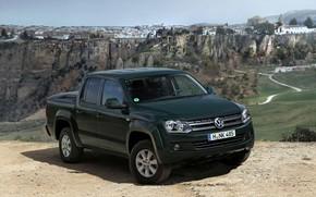 Picture Volkswagen, 2012, 2010, pickup, Amarok, Double Cab, dark green, Trendline