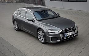Picture Audi, the sidewalk, 2018, universal, dark gray, A6 Avant