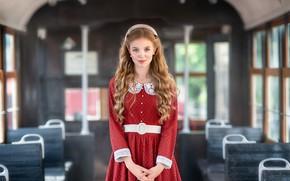 Picture look, girl, pose, photo, hair, dress, tram, beautiful, Anastasia Barmina