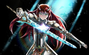 Picture girl, sword, armor, knight
