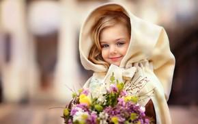 Picture smile, bouquet, spring, hood, girl, child, lady, Oksana Mitina