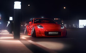 Picture Red, Auto, Night, Machine, Tuning, Nissan, Red, Nissan 350Z, Car, Auto, Sunrise, Tuning, 666, Transport …