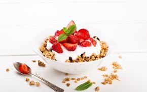 Picture berries, Breakfast, strawberry, ripe, yogurt, granola