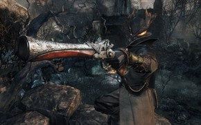 Picture forest, weapons, hat, mask, hunter, Bloodborne