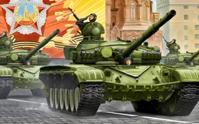 Picture tank, Red square, Soviet, CCCP, Main battle tank, THE T-72A, Tankers, victory parade, Armored forces, …