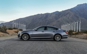 Picture grey, CT5, sedan, Cadillac, four-door, in profile, 2020