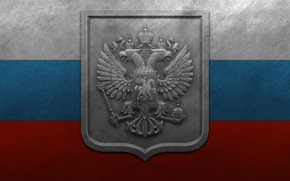 Picture metal, tricolor, the flag of Russia, coat of arms of Russia
