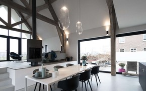 Picture design, interior, fireplace, living room, dining room, by Architecten Studio-PLS, Longhouse