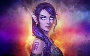 Picture Girl, Figure, Lips, Style, Face, Girl, WOW, Elf, Beautiful, Night Elf, Style, Fiction, Fiction, Beautiful, …