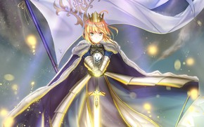 Picture girl, sword, flag, Saber, Excalibur, Fate / Stay Night, Fate stay Night