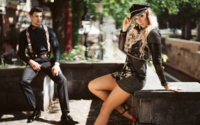 Picture pose, style, feet, model, dress, guy, cap, bokeh, Olya Alessandra, Andreas-Joachim Lins