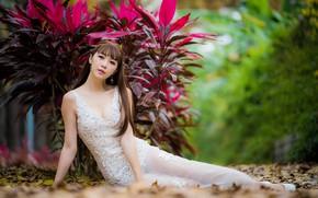 Picture pose, model, earrings, dress, brunette, rosteniya