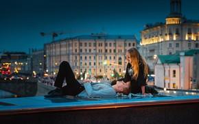 Picture girl, bridge, Moscow, guy, lovers, the parapet, Yuri Surkov