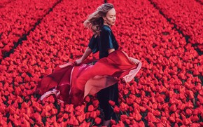 Picture field, girl, flowers, pose, hair, tulips, Kristina Makeeva