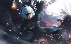 Picture Girl, Figure, Sparks, Android, Art, Nier, Illustration, Characters, Automata, Game Art, NieR, NieR: Automata, Nier …