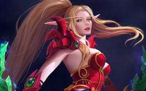 Picture girl, blonde, elf, World Of WarCraft