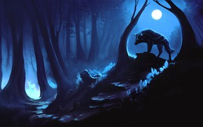 Picture forest, night, wolf, deer, the spirit of the forest