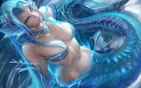 Picture fantasy, cleavage, breast, purple eyes, artist, digital art, artwork, belly, mermaid, fantasy art, Sakimichan, chest, …