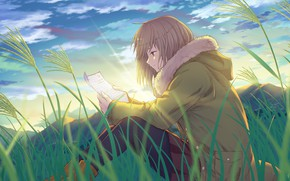 Picture field, grass, letter, girl