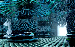 Wallpaper 3D graphics, futuristic, voltage, Indoor Electrical Substation, equipped, internal electrical substation