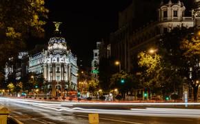 Picture road, trees, night, lights, street, home, lights, Spain, Madrid