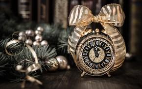 Picture retro, toys, new year, alarm clock, tape, Anya Ivanova