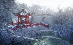 Picture winter, girl, nature, gazebo