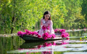 Picture water, girl, flowers, nature, boat, dress, Asian, Lotus