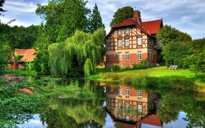 Picture summer, trees, reflection, river, Germany, mansion