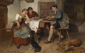 Picture 1914, German painter, German painter, oil on canvas, Adolf Eberle, Adolf Eberle, Musical entertainment on …