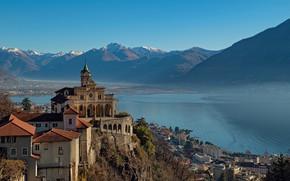 Picture mountains, lake, home, Switzerland, Alps, Church, the monastery, Switzerland, Alps, Maggiore, Lake Maggiore, Locarno, Locarno, …