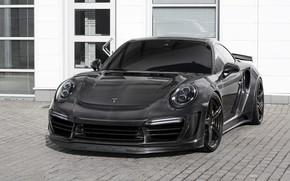 Picture car, machine, lights, the building, Porsche, carbon, sports car, black, front, Porsche 911, carbon, tinted, …