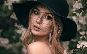 Picture look, flowers, close-up, face, pose, model, portrait, hat, makeup, garden, hairstyle, blonde, beauty, mesh, bokeh, …