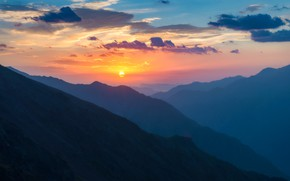 Picture the sky, sunset, mountains, gorge, Syltran-Suu