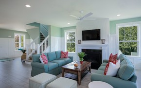 Picture room, Windows, interior, pillow, ladder, fireplace, table, sofas, living room