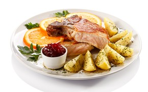 Picture orange, meat, jam, potatoes