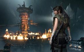 Wallpaper fire, hair, Tomb Raider, Lara Croft, traps, Shadow of the Tomb Raider, grobnica
