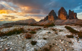 Picture the sky, clouds, mountains, stones, rocks, hills, vegetation, tops, the evening, slope, The Dolomites