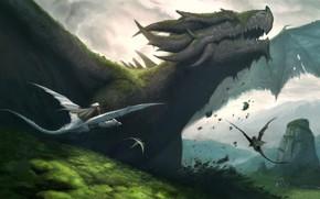 Picture fantasy, horns, landscape, nature, wings, digital art, artwork, fantasy art, creature, Dragons