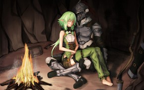 Picture girl, armor, helmet, cave, knight, two, the fire, Goblin Slayer
