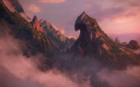 Picture clouds, sunset, rock, Naughty Dog, Playstation 4, Uncharted 4: A Thief's End