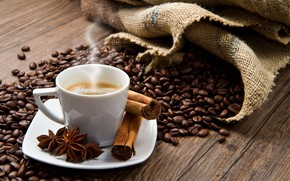 Picture coffee, Cup, cinnamon, coffee beans, coffee, Anis