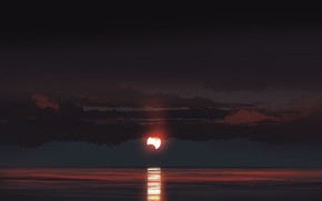 Picture sea, the sky, clouds, night, the moon, figure, gracile @gracile_jp