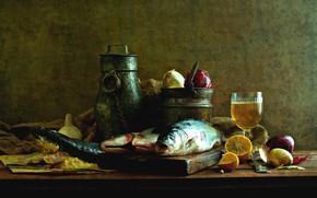 Picture lemon, glass, fish, bow