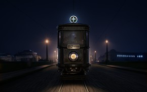 Picture building, headlight, tram, 1917 Funeral Tram, The Black Mary
